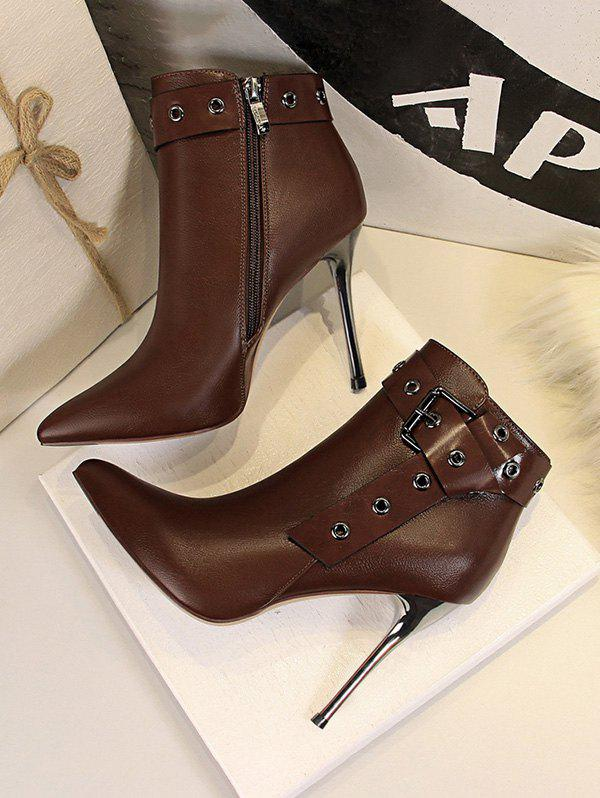 Unique Stiletto Heel Pointed Toe Eyelet Buckle Boots