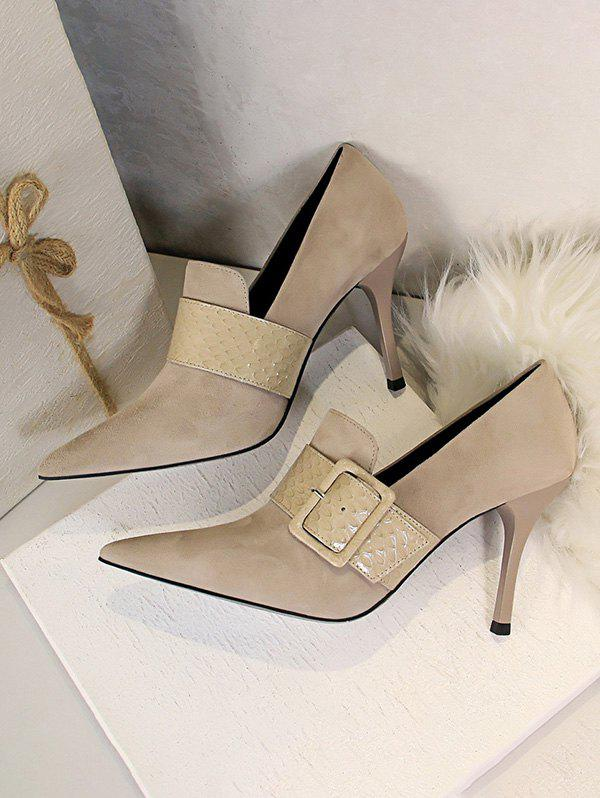 Buy Suede Snake Print Buckle High Heel Shoes