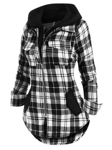 Double Zipper Plaid Pocket Hooded Shirt Jacket