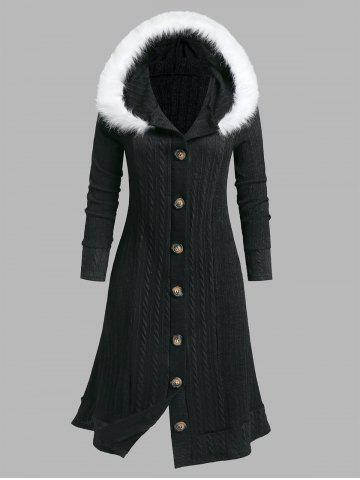 Plus Size Faux Fur Hooded Button Down Coat