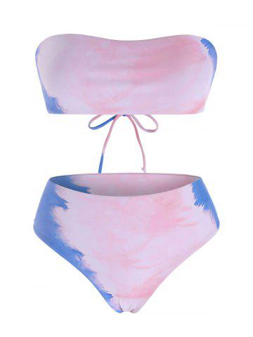 Lace-up Tie Dye Strapless Bikini Swimwear - MULTI - XL