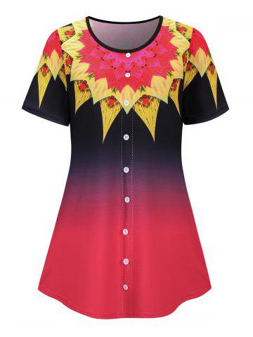 Plus Size Buttoned Ombre Flower Print Short Sleeve Tee