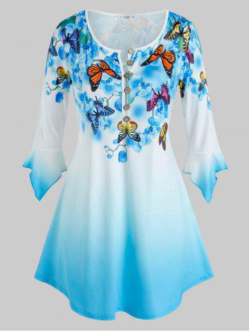 Plus Size Bell Sleeve Butterfly Floral Print Ombre Color Tee - BLUE - 1X