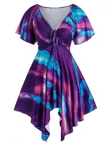 Plus Size Handkerchief Raglan Sleeve Tie Dye Dress - MULTI - 3X