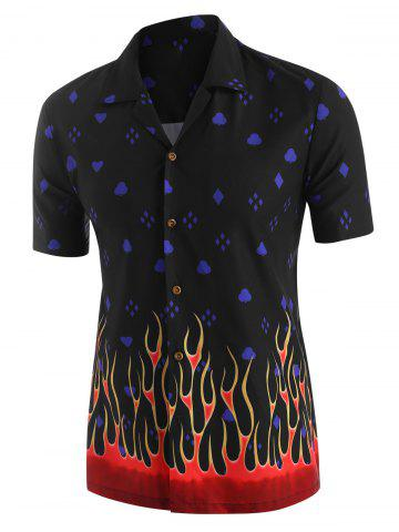 Flame Geometric Print Short Sleeve Shirt - BLACK - 2XL