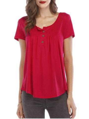 Front Button Placket Short Sleeve Tee