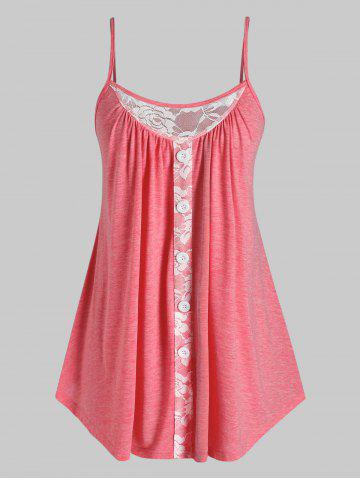 Plus Size Lace Insert Swing Tank Top - RED - 3X