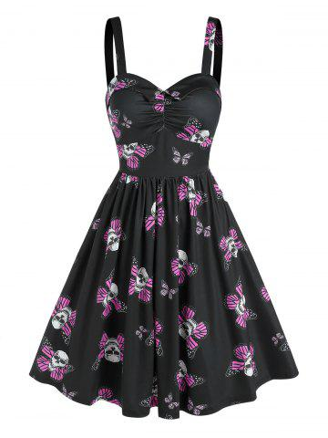 Sweetheart Neck Skull Butterfly Print Ruched Flare Dress
