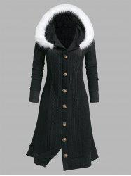 Plus Size Faux Fur Hooded Button Down Coat -