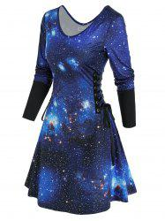 3D Galaxy Print Lace Up Mini Dress -