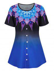 Plus Size Buttoned Ombre Flower Print Short Sleeve Tee -