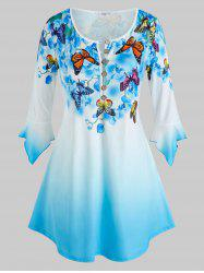Plus Size Bell Sleeve Butterfly Floral Print Ombre Color Tee -