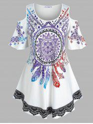 Plus Size Dreamcatcher Print Open Shoulder Tunic Tee -