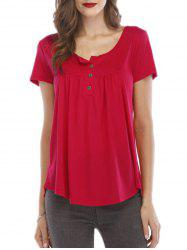 Front Button Placket Short Sleeve Tee -