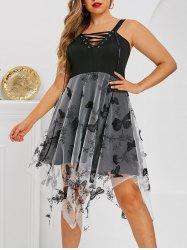 Plus Size Butterfly Mesh Hanky Hem Lace-up Backless Dress -