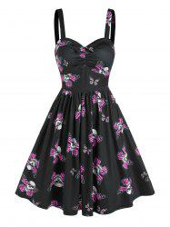 Sweetheart Neck Skull Butterfly Print Ruched Flare Dress -
