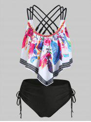 Feather Print Strappy Padded Tankini Set -