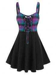 Plain Flare Cami Dress and Plaid Print Lace-up Tank Top -