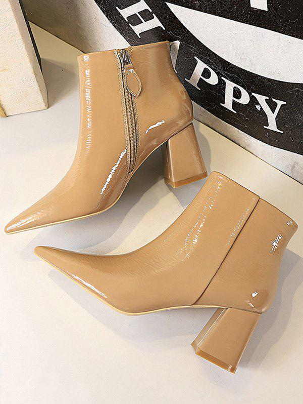 Sale Patent Leather Chunky Heel Boots