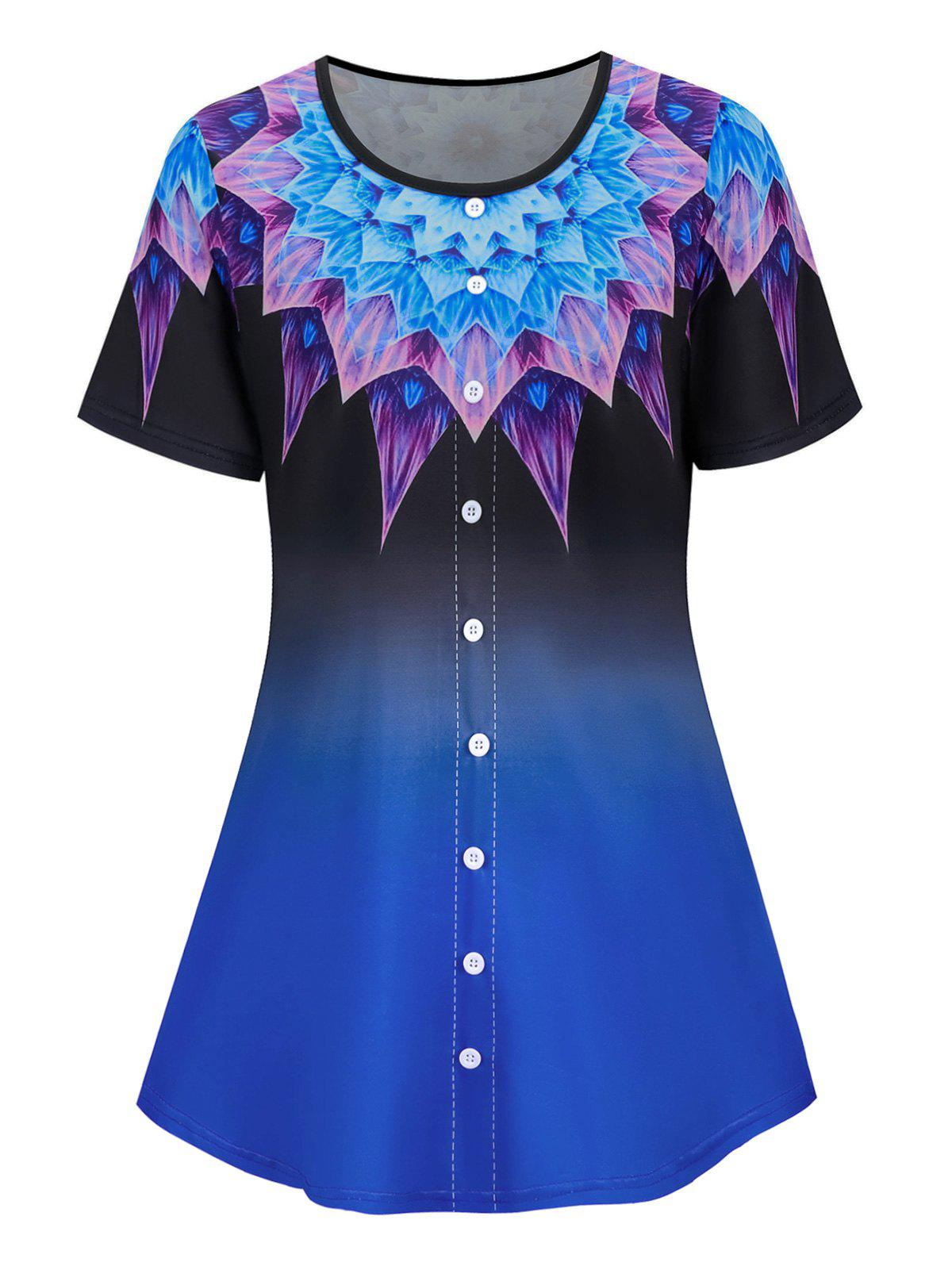 Buy Plus Size Buttoned Ombre Flower Print Short Sleeve Tee