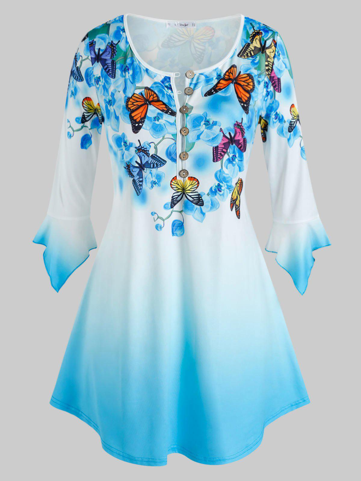 Chic Plus Size Bell Sleeve Butterfly Floral Print Ombre Color Tee