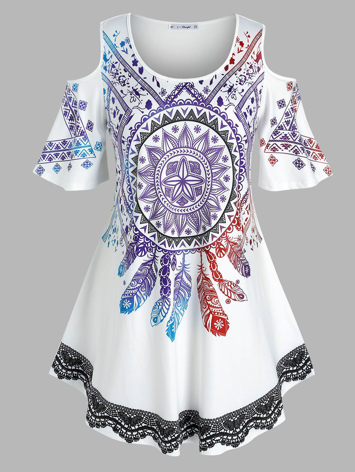Trendy Plus Size Dreamcatcher Print Open Shoulder Tunic Tee