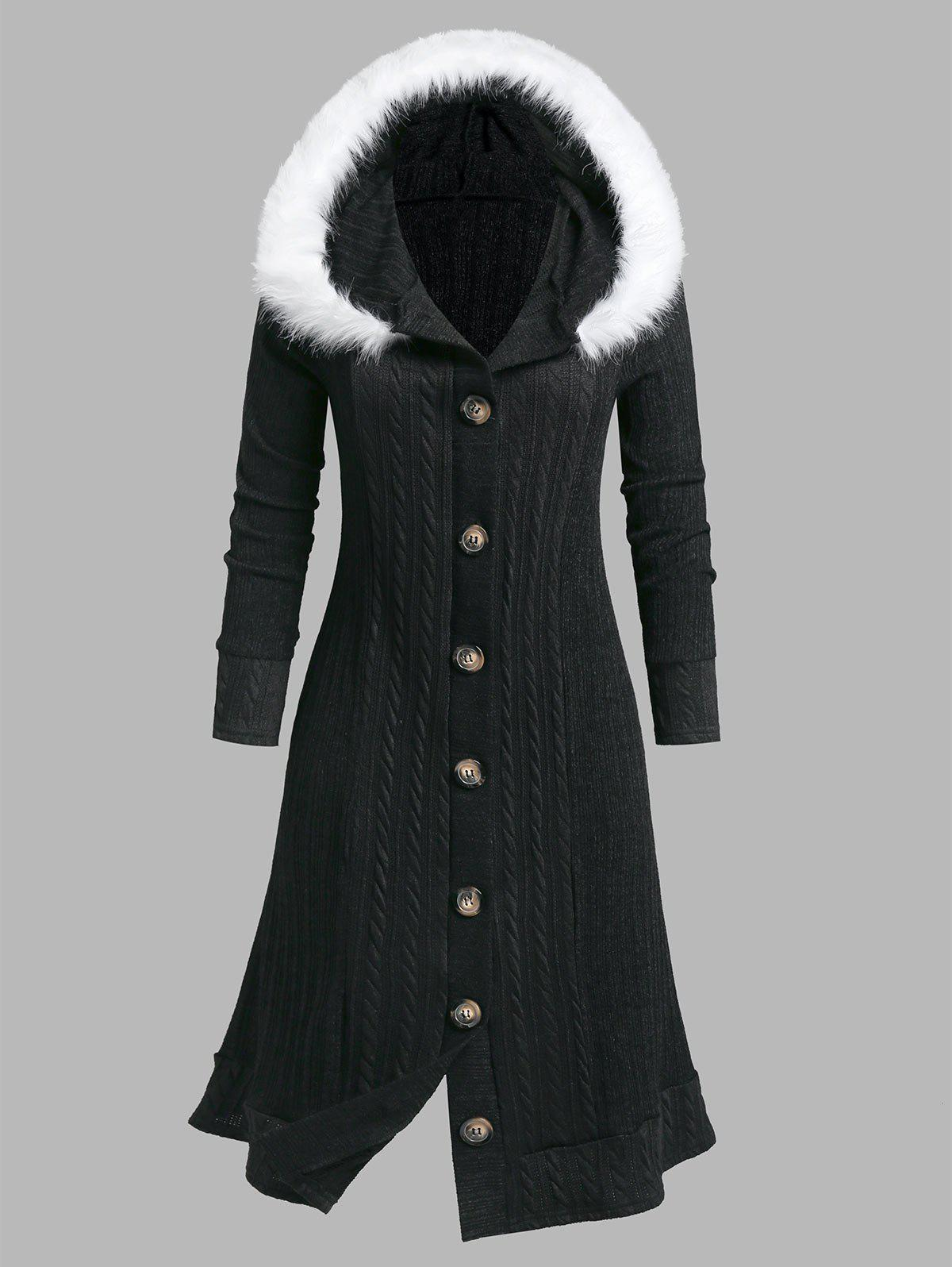 Fancy Plus Size Faux Fur Hooded Button Down Coat