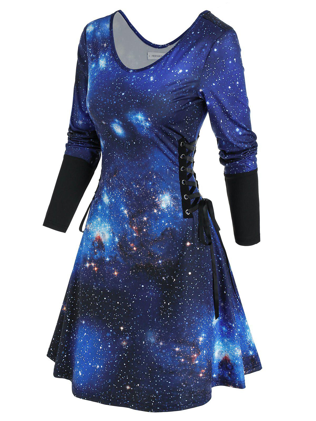 Unique 3D Galaxy Print Lace Up Mini Dress
