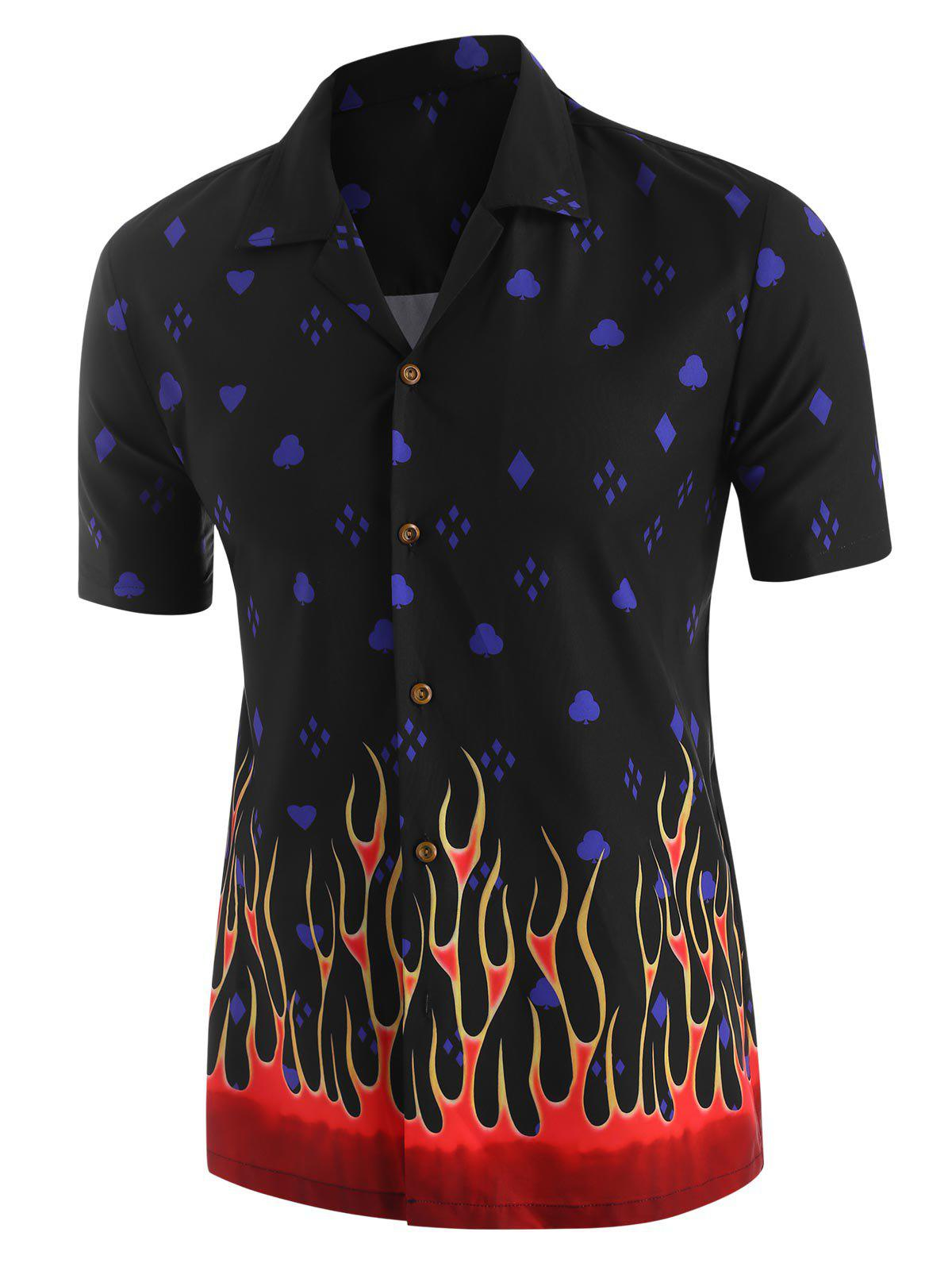 Hot Flame Geometric Print Short Sleeve Shirt