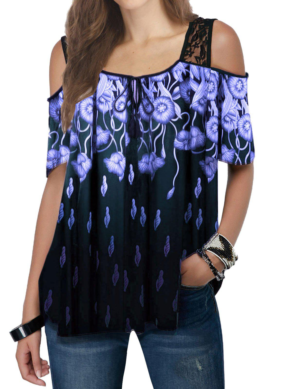 Chic Lace Insert Flower Print Open Shoulder Tie Tee