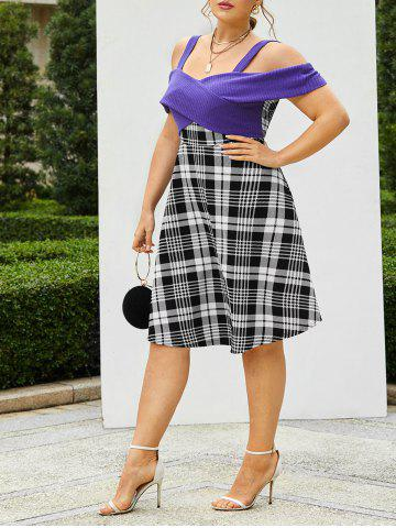 Plus Size Knitted Cross Panel Plaid Flare Dress