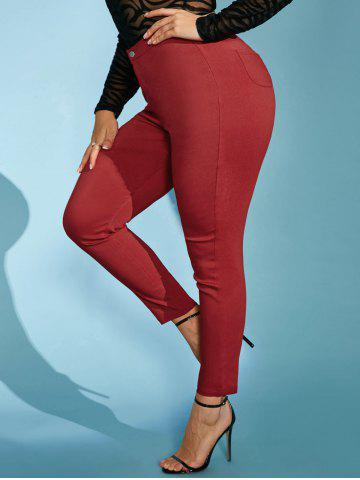 High Waisted Colored Plus Size Skinny Pants - RED - 5XL