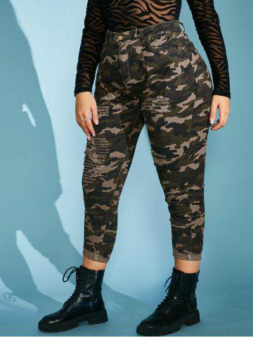 Plus Size Camo Distressed High Waisted Skinny Jeans - LIGHT GREEN - L