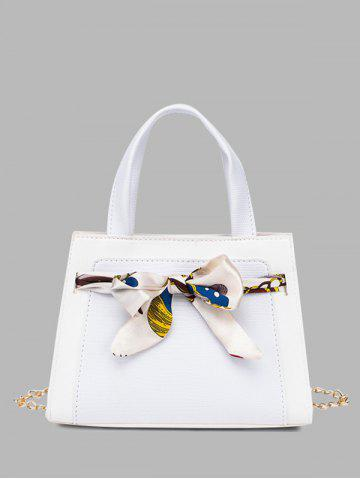 Lizard Embossed Scarf Bowknot Tote Bag - WHITE