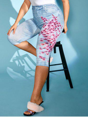 Plus Size Peach Blossom Print Capri Jeggings - LIGHT BLUE - 3X