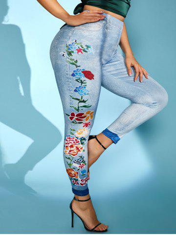 Plus Size Flower 3D Jean Pattern High Rise Jeggings - BLUE - 4X