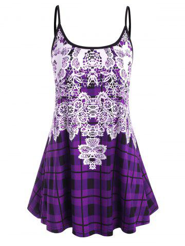 Plus Size Plaid Pattern Adjusted Strap Cami Top - PURPLE - 5X