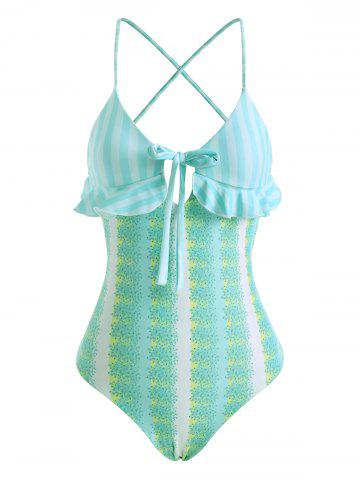 Striped Floral Lace Up Bowknot Ruffle One-piece Swimsuit - MULTI - XL