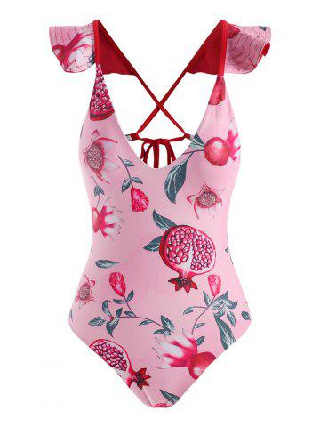 Flower Pomegranate Criss Cross Ruffle One-piece Swimsuit