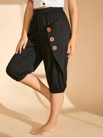 Plus Size Buttoned Cropped Pants - BLACK - 1X