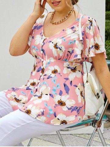 Plus Size Flower Butterfly Sleeve Loop Button Tunic Blouse - LIGHT PINK - 1X
