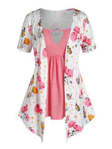 Plus Size O Ring Butterfly Flower Print 2 in 1 T Shirt