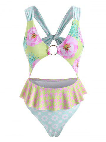 Flower Star Twisted O Ring Cutout Peplum One-piece Swimsuit