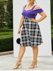 Plus Size Knitted Cross Panel Plaid Flare Dress -