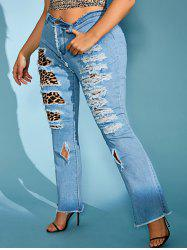 Ripped Frayed Leopard Plaid Panel Plus Size Flare Jeans -