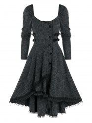 Mock Button Lace Trim Ribbed High Low Dress -