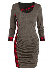 Ruched Plaid Tight Dress -