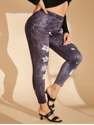 Plus Size 3D Ripped Jean Print High Rise Jeggings -