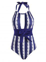 Striped Floral Cutout Halter Backless One-piece Swimsuit -
