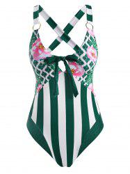 Flower Striped Leopard O Ring Bowknot Criss Cross One-piece Swimsuit -